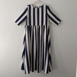 Blue and White Striped Midi Dress